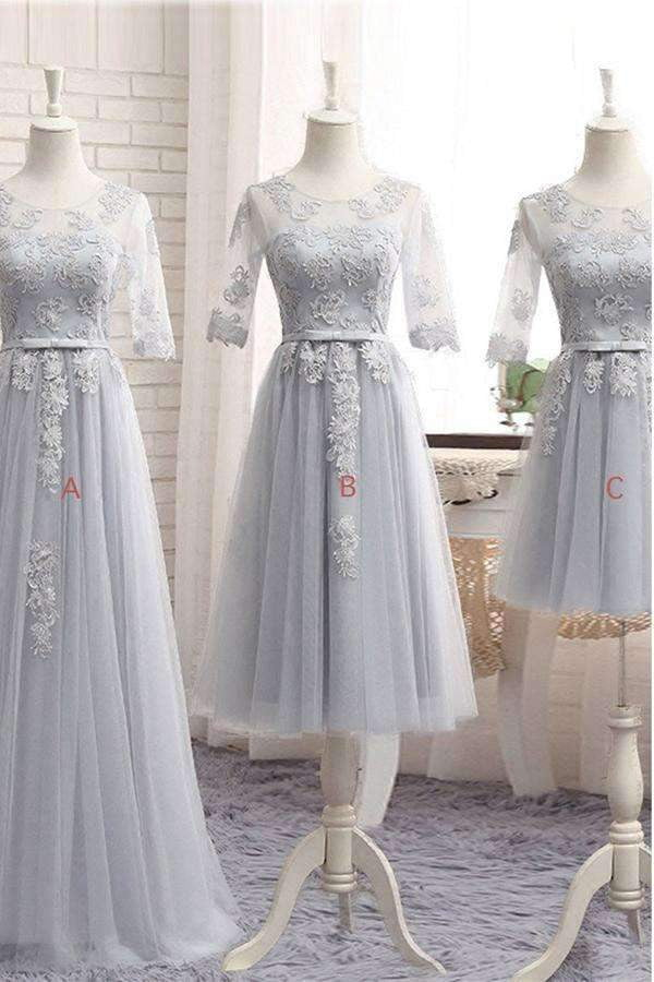 Gray A Line Sheer Neck Half Sleeve Appliques Bridesmaid Dresses B252