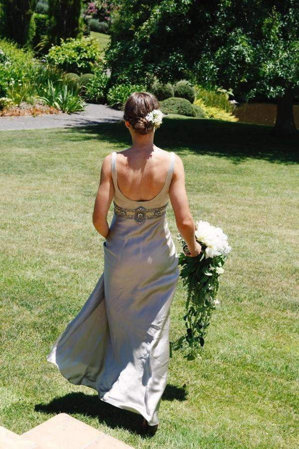 Gray V Neck Sleeveless Beach Wedding Gowns,Open Back Beading Belt Silk Wedding Dress W95