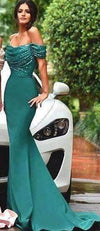Green 2019 Cheap Bridesmaid Dresses Mermaid Off The Shoulder Sequins Long Wedding Party Dresses For Women