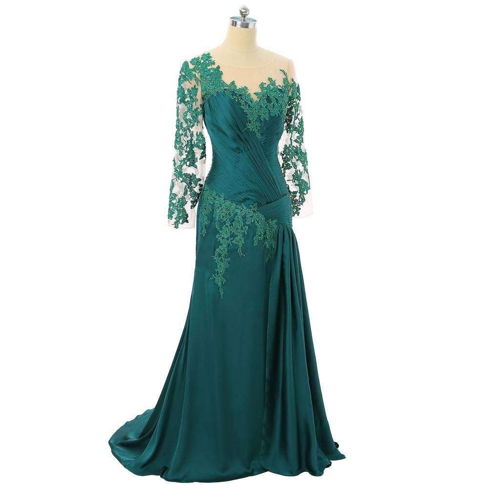 Green 2020 Mother Of The Bride Dresses Mermaid Long Sleeves Chiffon Beaded Lace Mother Dresses For Weddings