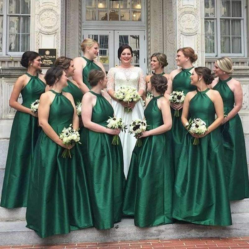 Green Halter Sleeveless A Line Satin A Line Bridesmaid Dresses
