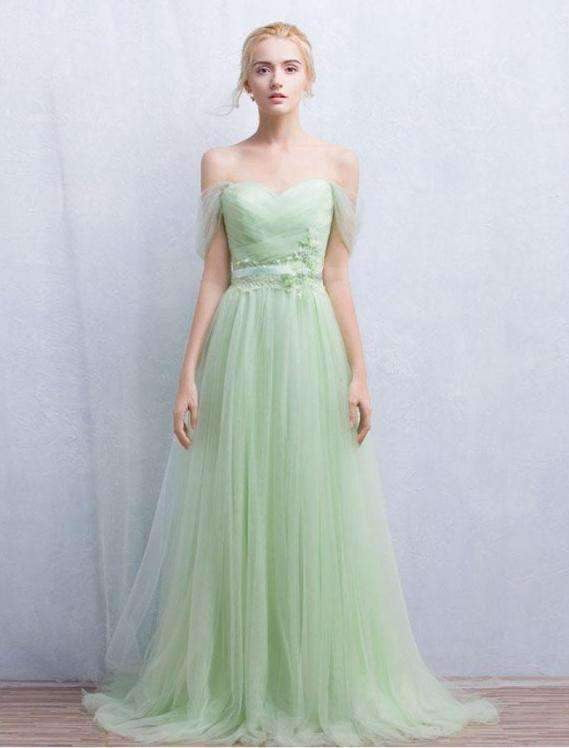 Green Off Shoulder Backless Long Prom Dresses Cheap Bridesmaid Dresses