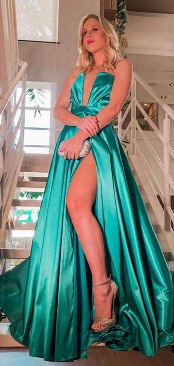 Green Satin Strapless Slit Cheap Fashion Prom Dresses.PD00266