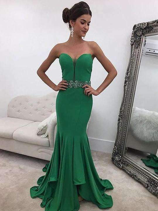 Green Sweetheart Sleeveless Satin Bridesmaid Dresses Mermaid Prom Dresses