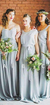 Grey Blue Chiffon Mismatched Boho Beach Wedding Party Bridesmaid Dresses, AB4070