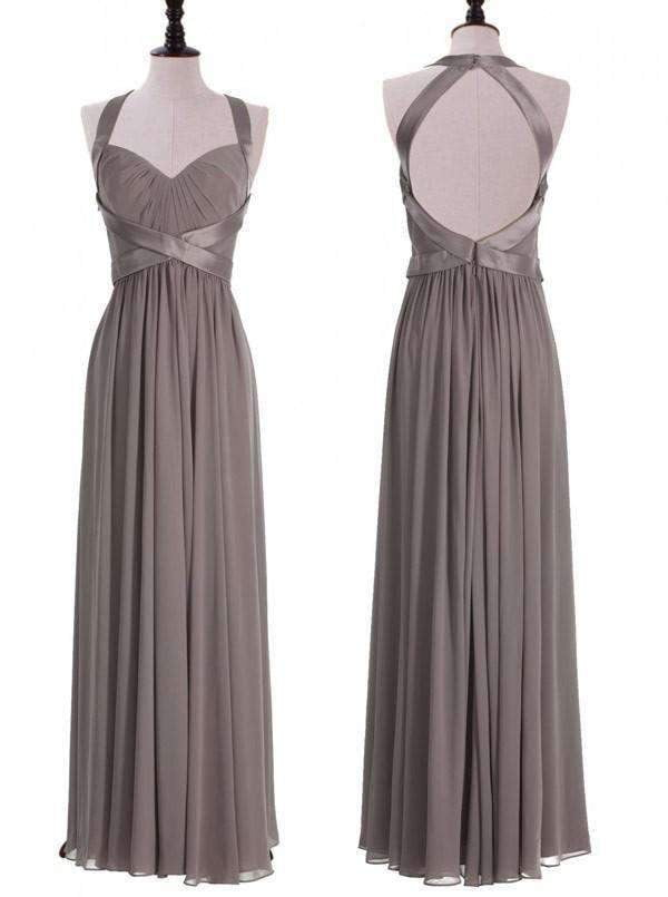 Grey Halter Sleeveless A Line Bridesmaid Dresses Cheap Prom Dresses