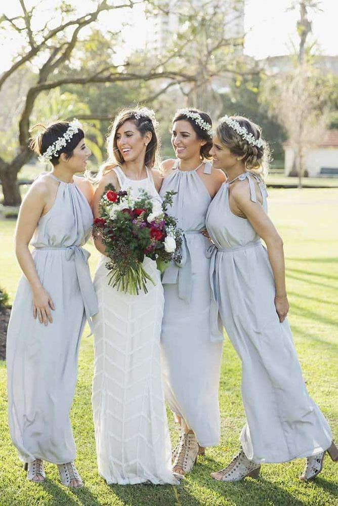 Grey Halter Sleeveless Empire Long Chiffon Bridesmaid Dresses