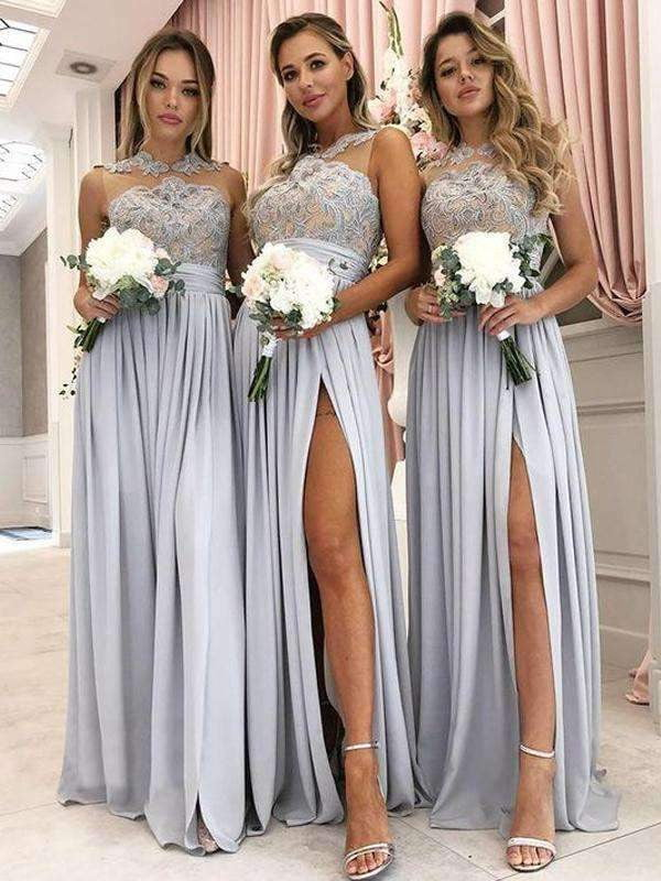 Grey Jersey Lace Illusion High Neck Silt Long Bridesmaid Dresses, AB4074