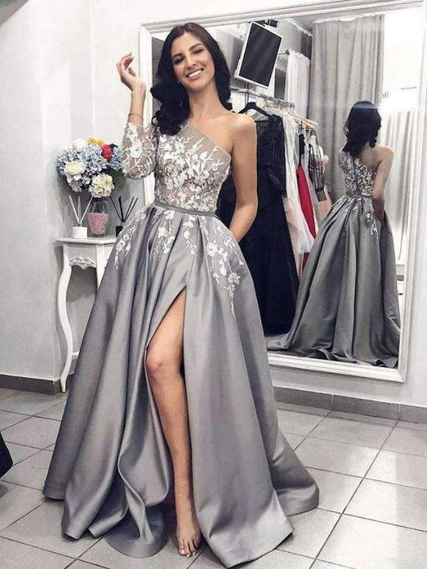 Grey Satin One Shoulder Applique Long Sleeve Prom Dresses  ,PD00144