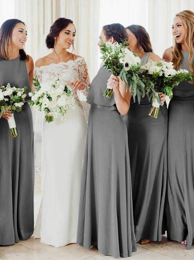 Grey Scoop Neck Sleeveless A Line Long Chiffon Bridesmaid Dresses