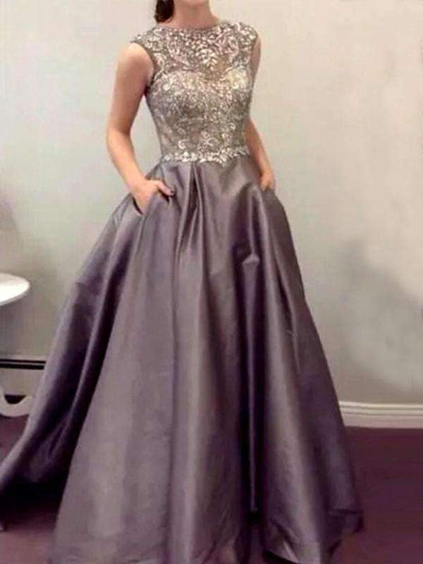 Grey Sparkly Ball Gown Formal Evening Vintage Modest Charming Prom Dresses.BD0262