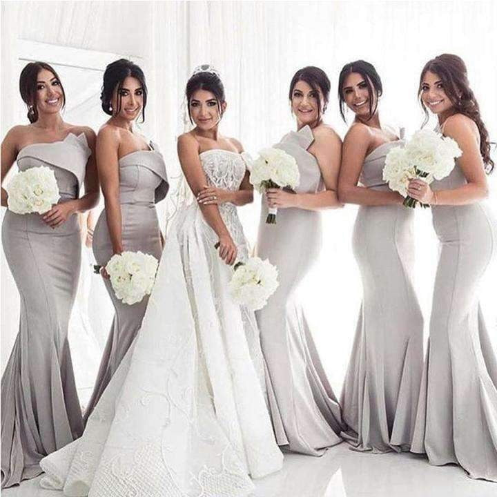 Grey Strapless Sleeveless Mermaid Bridesmaid Dresses Long Prom Dresses