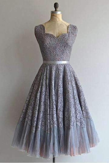 Grey Sweetheart Lace A Line Prom Dresses Inexpensive Bridesmaid Dresses