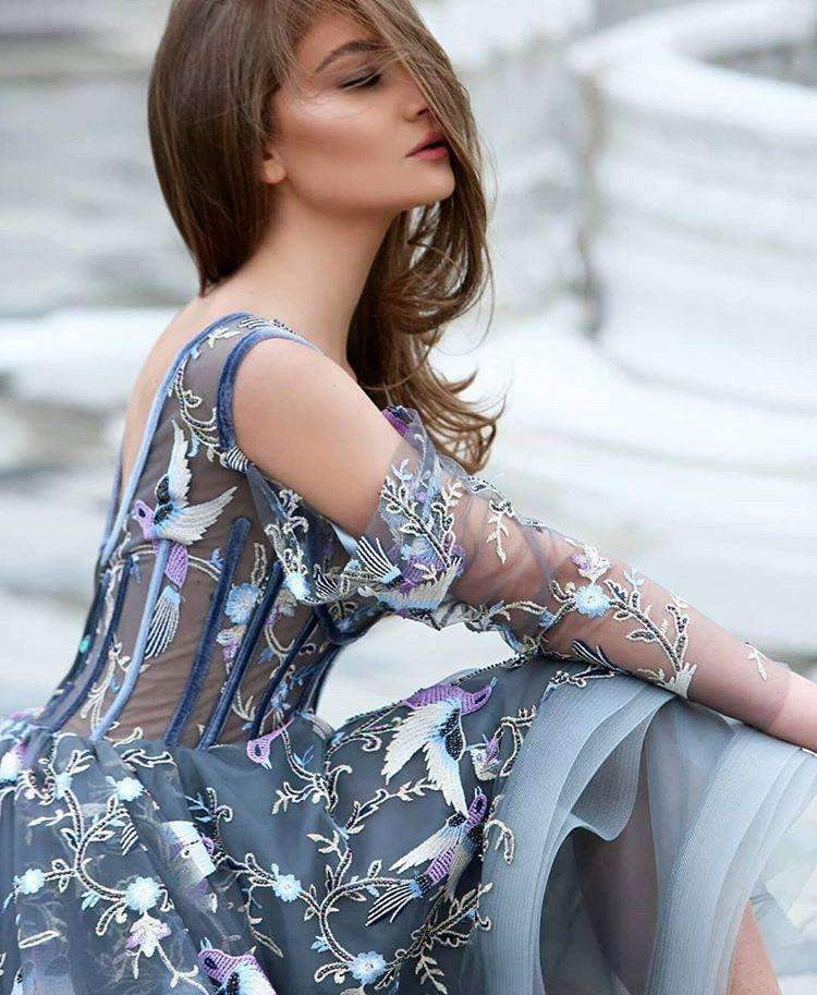 Grey Unique Applique Illusion High Low Long Sleeve Prom Dresses,PD00172