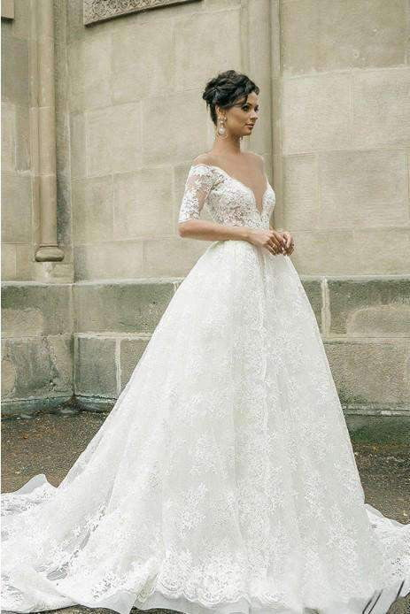 Half Sleeves Sheer Deep V-neck Lace Applique Ball Gown Illusion Back Wedding Dress, W318
