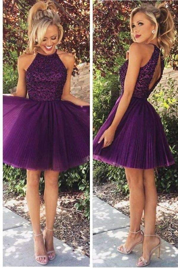 Halter A-line Scoop Beaded Sleeveless Purple Backless Homecoming Dress, Short/Mini Prom Dress,GH45