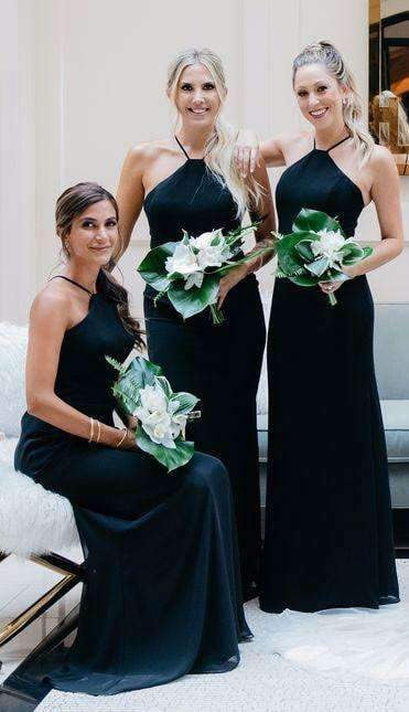 Halter Dark Navy Blue Chiffon Elegant Long Sheath Bridesmaid Dresses, AB4006