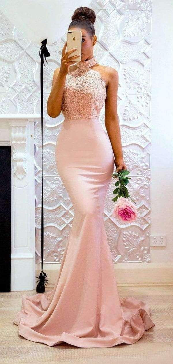 High Nick Hater Lace Mermaid Elegant Bridesmaid Dresses, AB4020