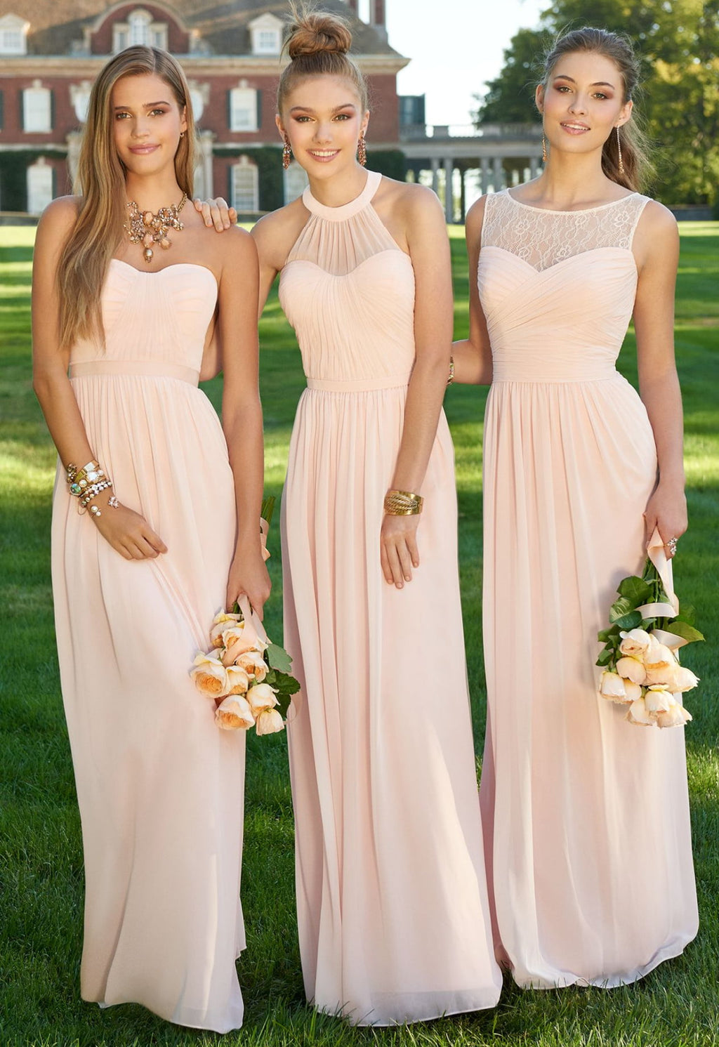 High Quality Pink Halter Floor Length Chiffon Evening Dresses Bridesmaid Dresses With Backless