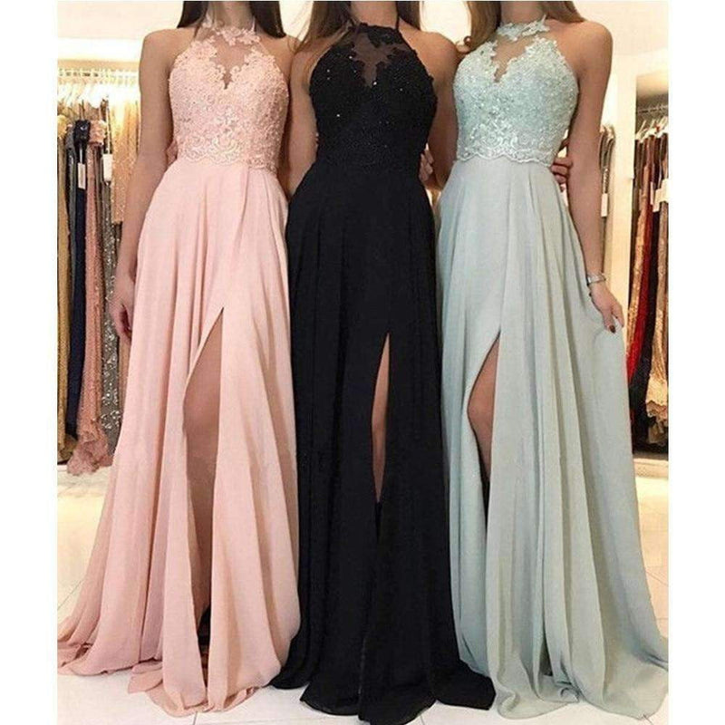 High Split Lace Chiffon Cheap Occasion Dresses 2019 Custom Made Prom Gowns