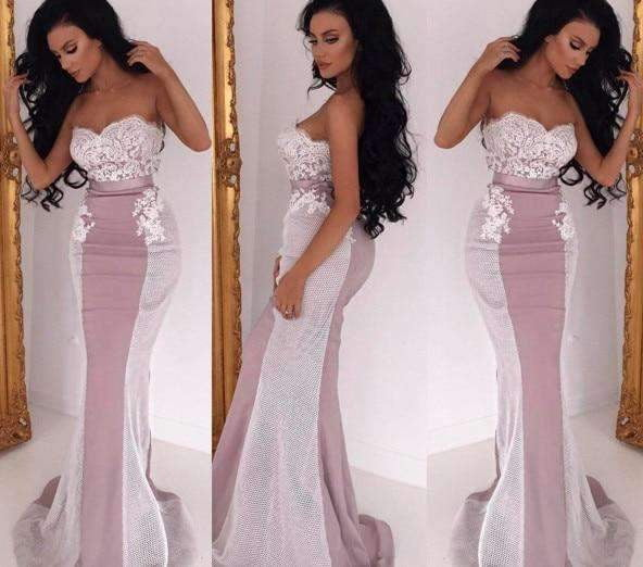 Hot 2019 Cheap Bridesmaid Dresses Mermaid Sweetheart Satin Appliques Lace Long Wedding Party Dresses