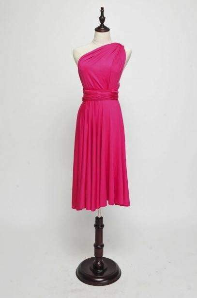 Hot Pink Short Convertable Dress,Multiway,Infinity Bridesmaids Dress