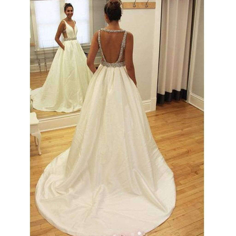 Hot Sale Backless Junior Sparkly Stain Charming Inexpensive Wedding Dresses. BD0302
