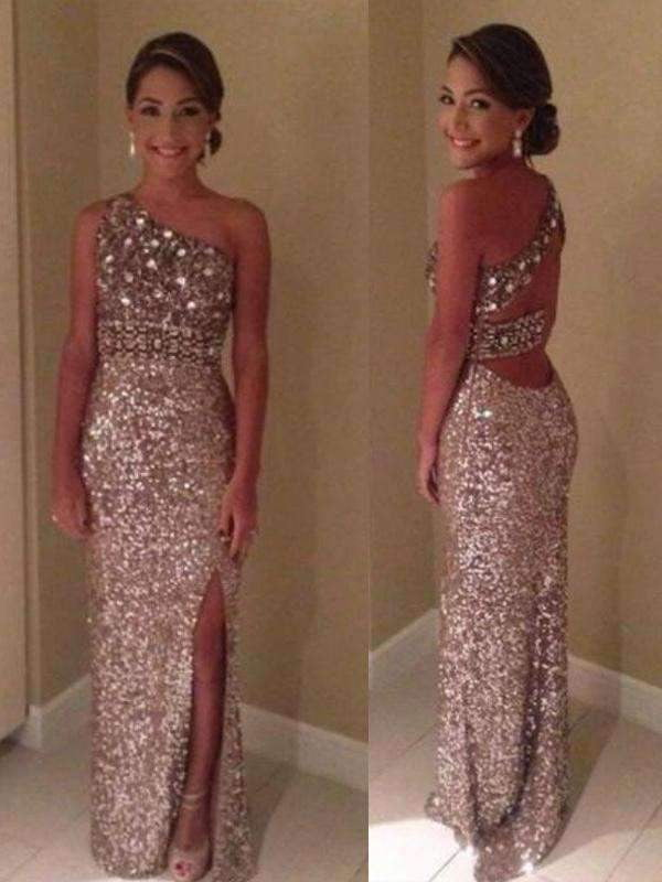 Hot Sale Long One Shoulder Cocktail Sparkly  Evening Party Prom Dresses Online,PD0143