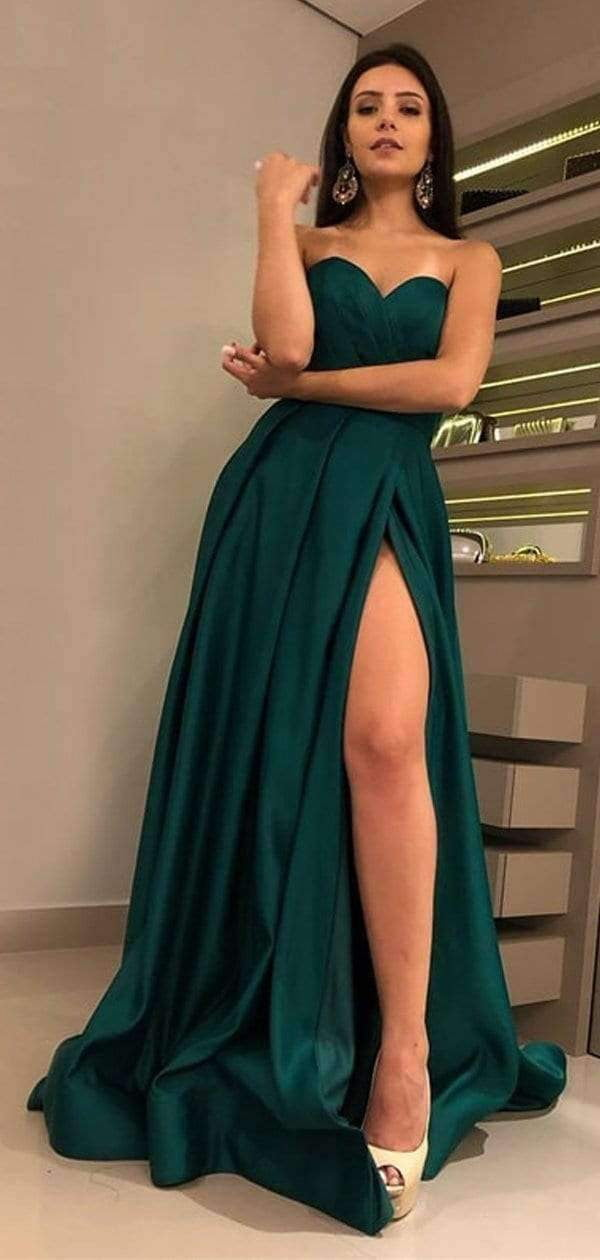 Hunter Green Sweetheart Strapless Slit A-line Prom Dresses.PD00280