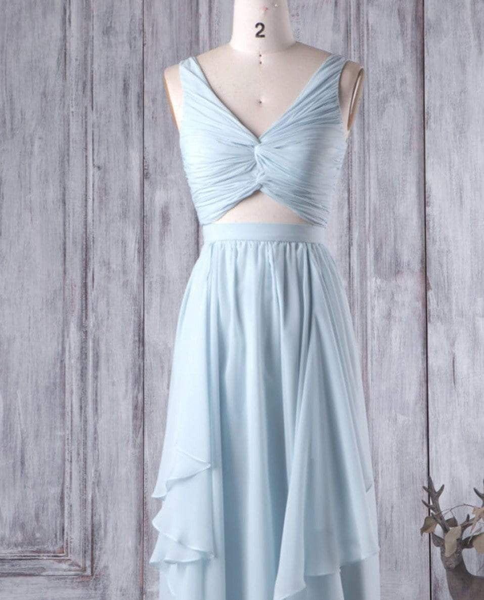 Simple Blue V Neck Sleeveless Ruffles Chiffon Long Bridesmaid Dresses