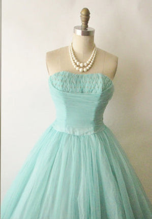 Sage Strapless Tulle A line Prom Dress,Beading Long Evening Dress,Anke length Homecoming Dress