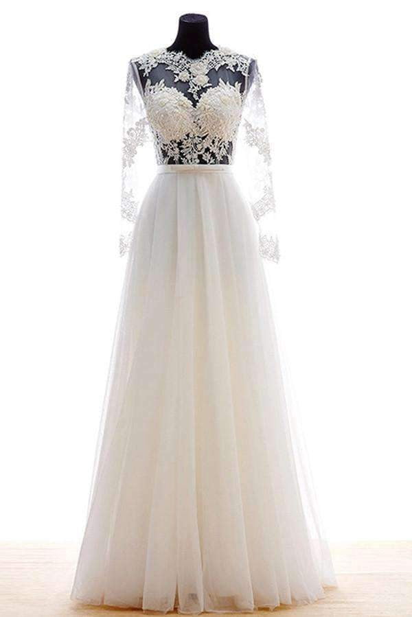 Illusion Long Sheer Sleeves Wedding Gowns,Appliques Pleat Beach Wedding Dress OMW51