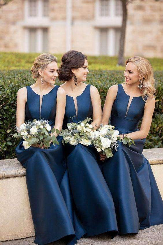 Dark Navy Round Neck Sleeveless Bateau Satin A Line Floor Length Bridesmaid Dress