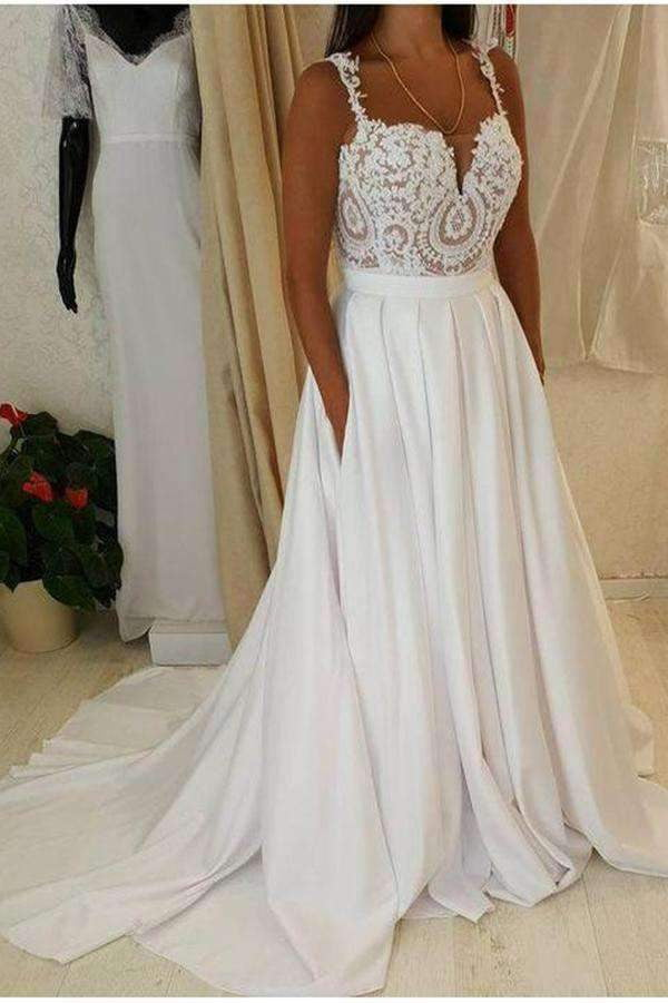 Impressive Spaghetti Strap Lace Sleeveless Appliques Wedding Dress With Pocket W476