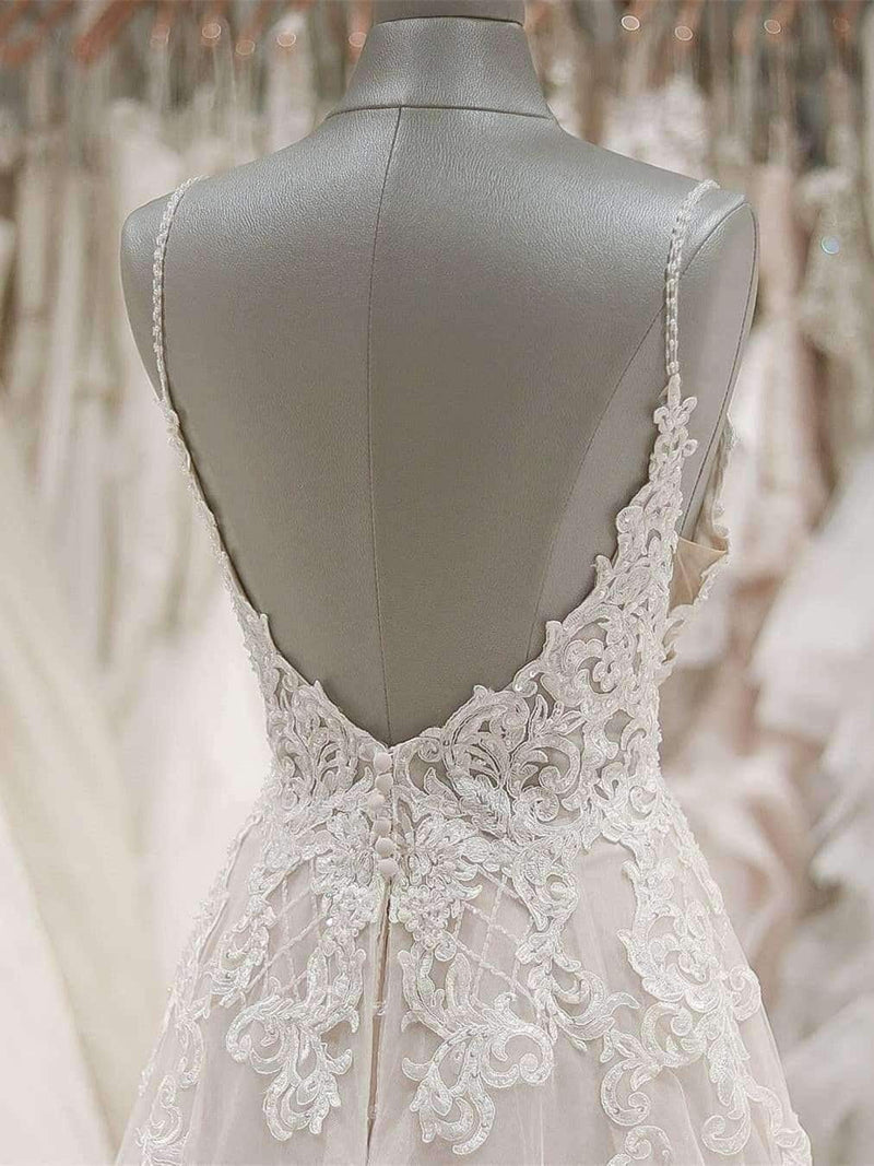 Impressive Spaghetti Straps V Neck Sleeveless Open Back With Lace Appliques Wedding Dress W431