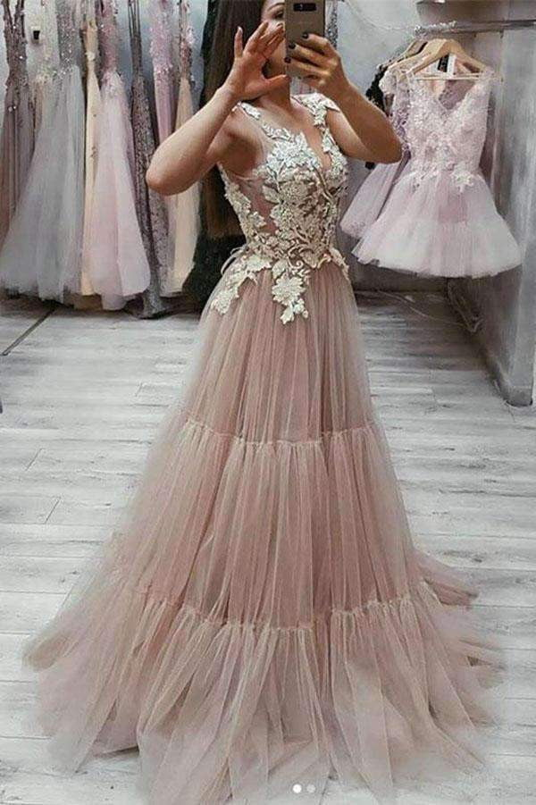 Impressive V Neck Sleeveless Tulle A Line Prom Dress with Appliques P876