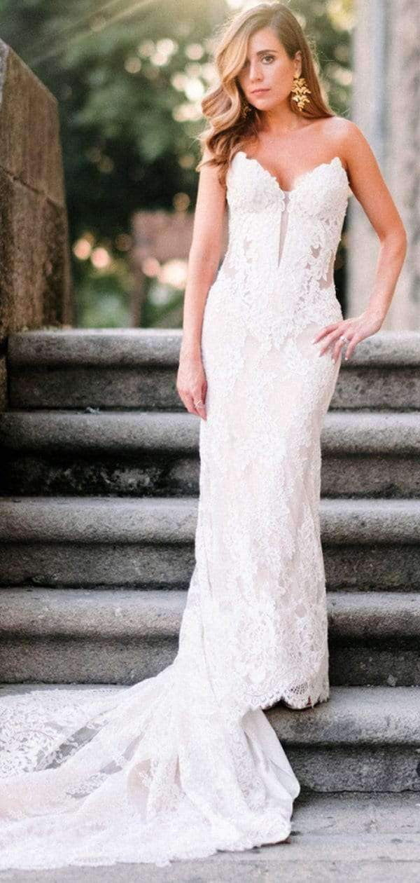 Ivory Lace Sweetheart Strapless Lace Up Back Mermaid Wedding Dresses , AB1526
