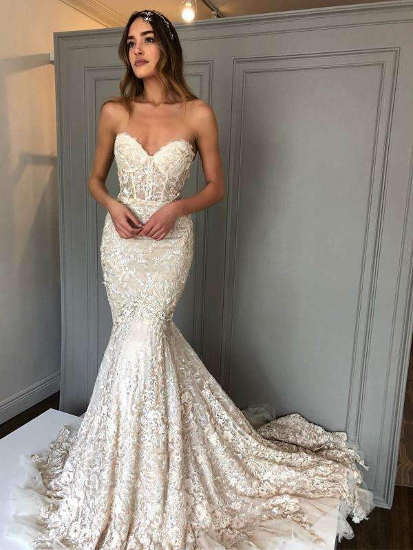 Ivory lace Sweetheart Strapless Mermaid Charming Wedding Dresses, AB1510