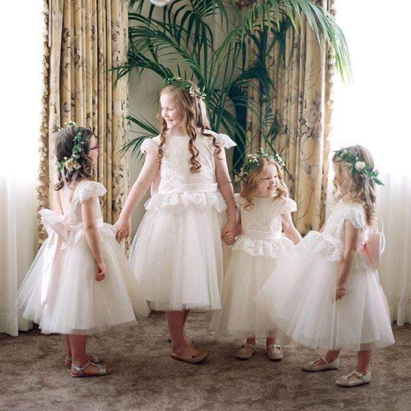 Ivory Lace Tulle  Cap Sleeve Round Neck Scoop Back With Pink Bow Know Flower Girl Dresses, FGS106