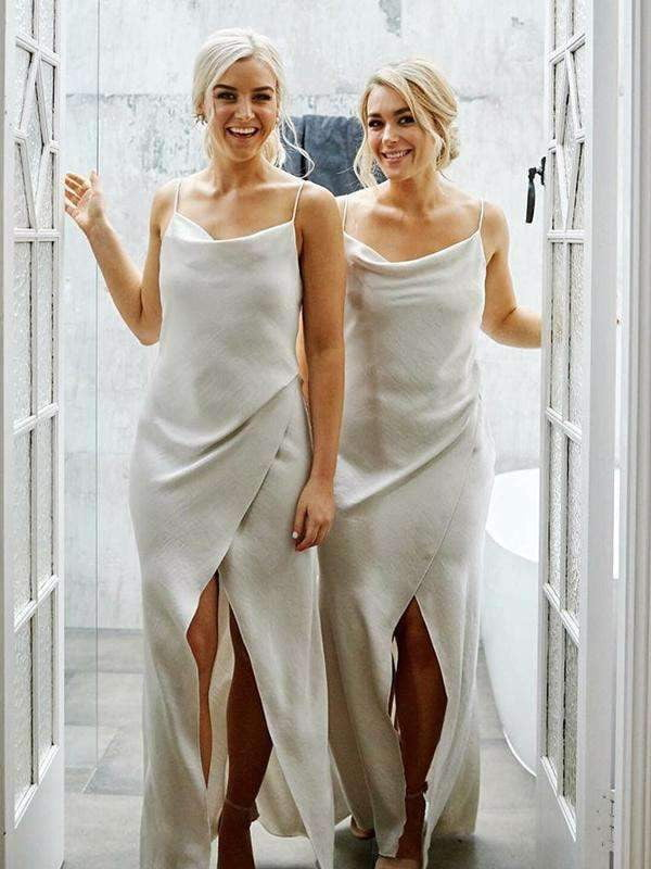 Ivory Spaghetti Strap Slit Summer Wedding Cheap Bridesmaid Dresses, AB4064
