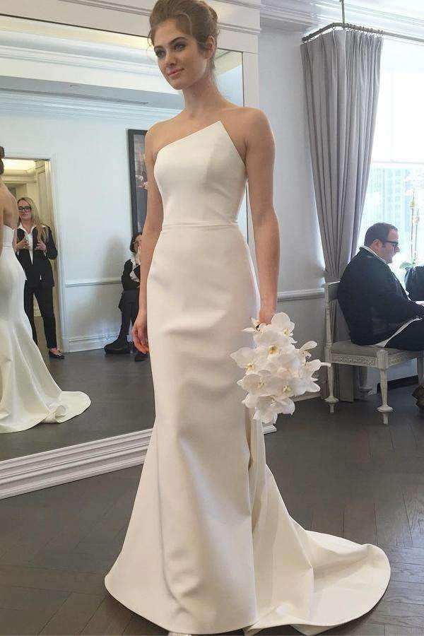 Ivory Strapless Sleeveless Backless Bridesmaid Dresses Mermaid Prom Dress