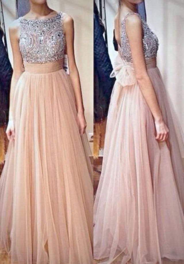 Jewel Sleeveless Sweep A Line Tulle Crystal Formal Dresses