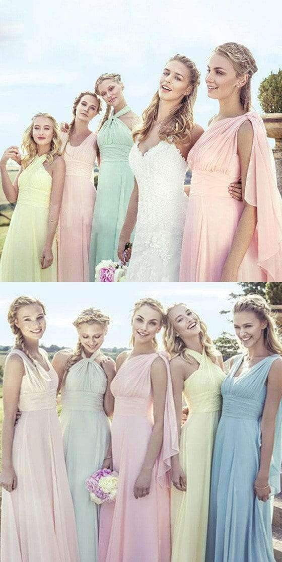Junior Young Girls Simple Chiffon Long Formal Bridesmaid Dresses for Wedding Party, WG148