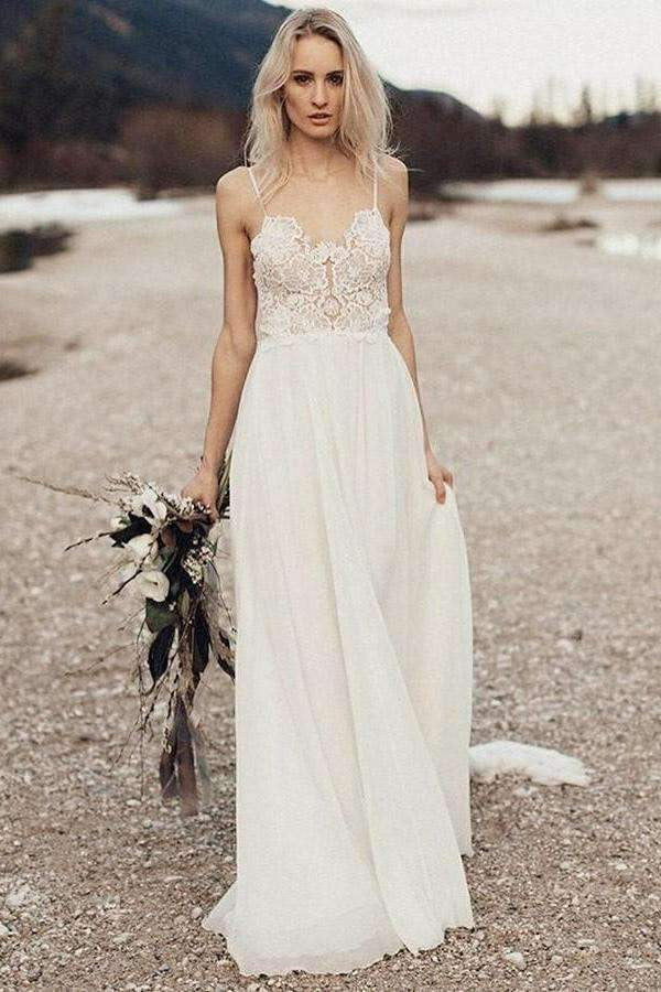 Lace Spaghetti Strap Chiffon Backless Beach Wedding Dresses W324
