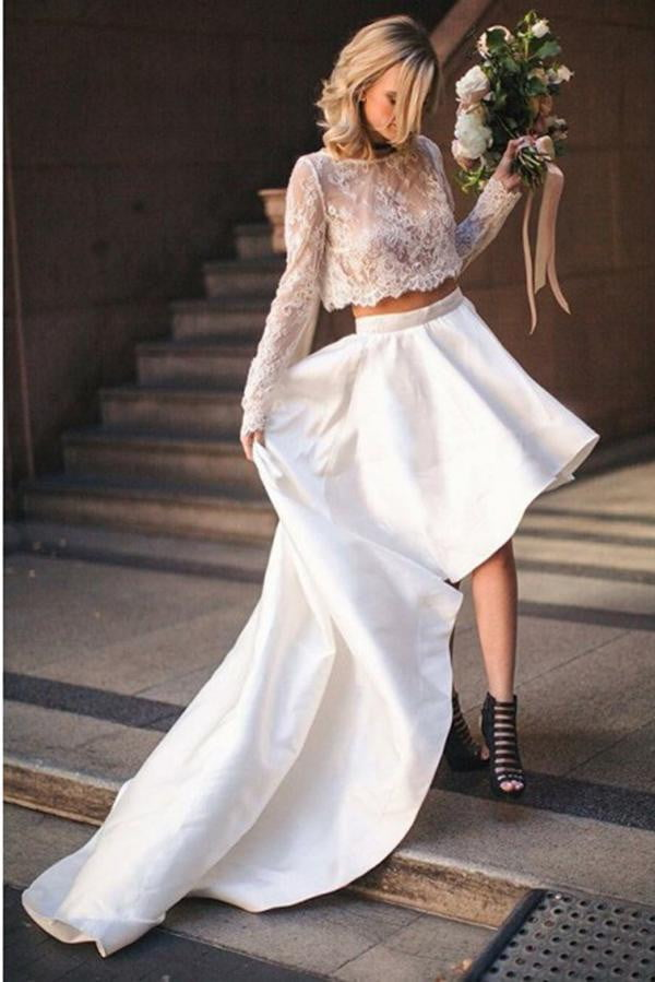 Unique Two Pieces Lace Wedding Dress with Long Sleeve Prom Dress W525