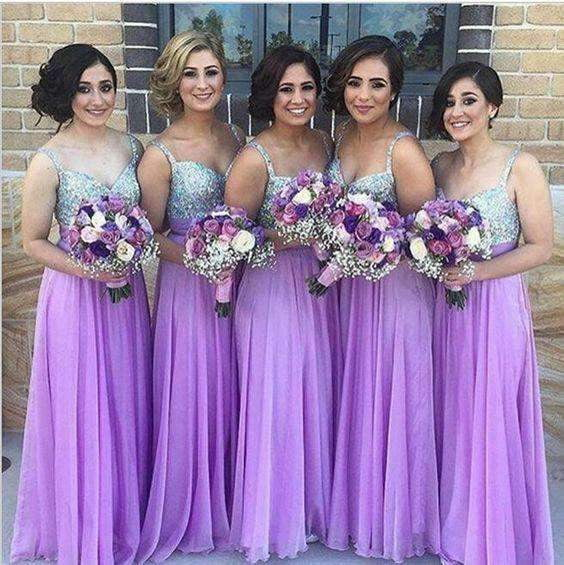 Lavender 2019 Cheap Bridesmaid Dresses A-line Spaghetti Straps Chiffon Sequins Sparkle Wedding Party Dresses