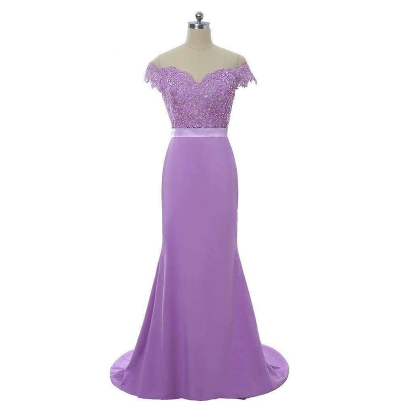 Lavender 2019 Mermaid Deep V-neck Cap Sleeves Lace Beaded Long Bridesmaid Dresses