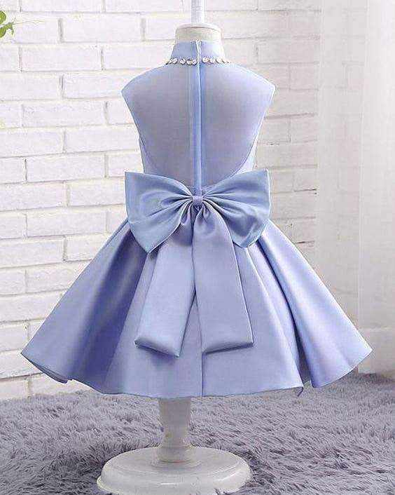 Lavender Satin High Neck See Through Back Bow Knot Simple  Flower Girl Dresses, FGS102