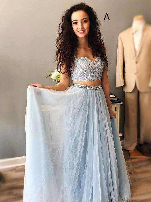 Light Blue Spaghetti Strap Mismatched Lace Chiffon Prom Dresses ,PD00124