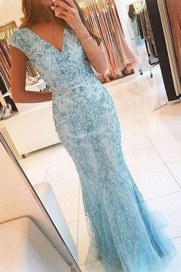 Light Blue Trumpet Floor Length Capped Sleeve Beading Prom Dress,Evening Dress P241